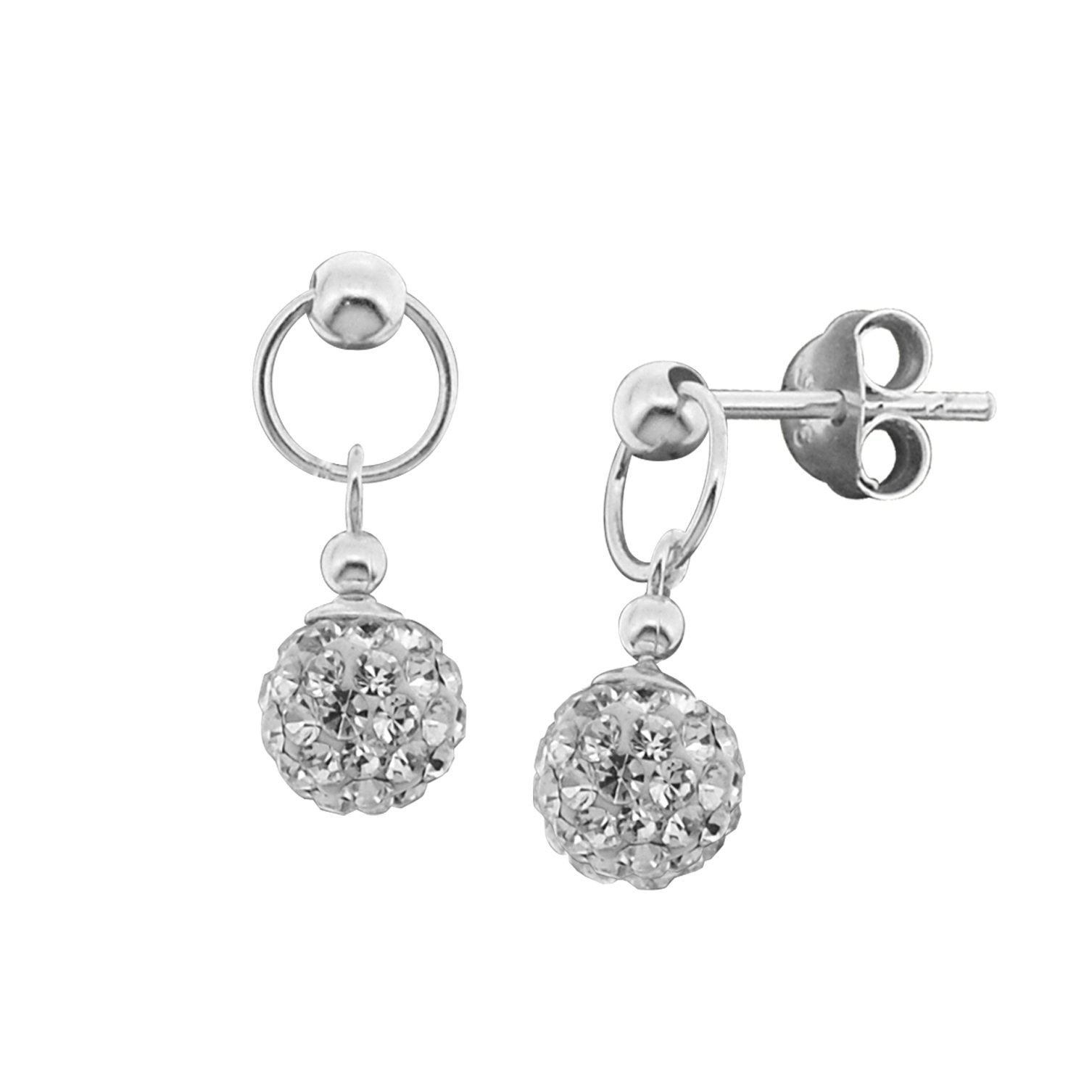 25135000c Get Quotations · Sterling Silver Decorative Ball Shape Sparkly White Crystal  Drop Dangle Earrings