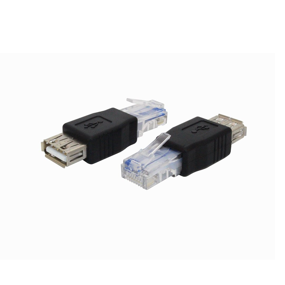 2 Pack Type A USB2.0 Female to Ethernet RJ45 Male Plug Adapter Converter Connector(Black)