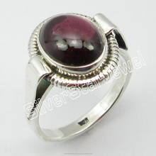 Mode Colourful Produsen India Indian Jewellers <span class=keywords><strong>925</strong></span> Stamped Sterling Silver GARNET KLASIK Ring Size 6 wanita Perhiasan