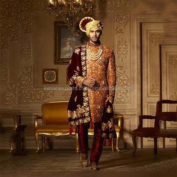 03e8af45a2 Navy Blue Banarasi Silk Bridal Wear Hand Work Sherwani - Buy Mens ...