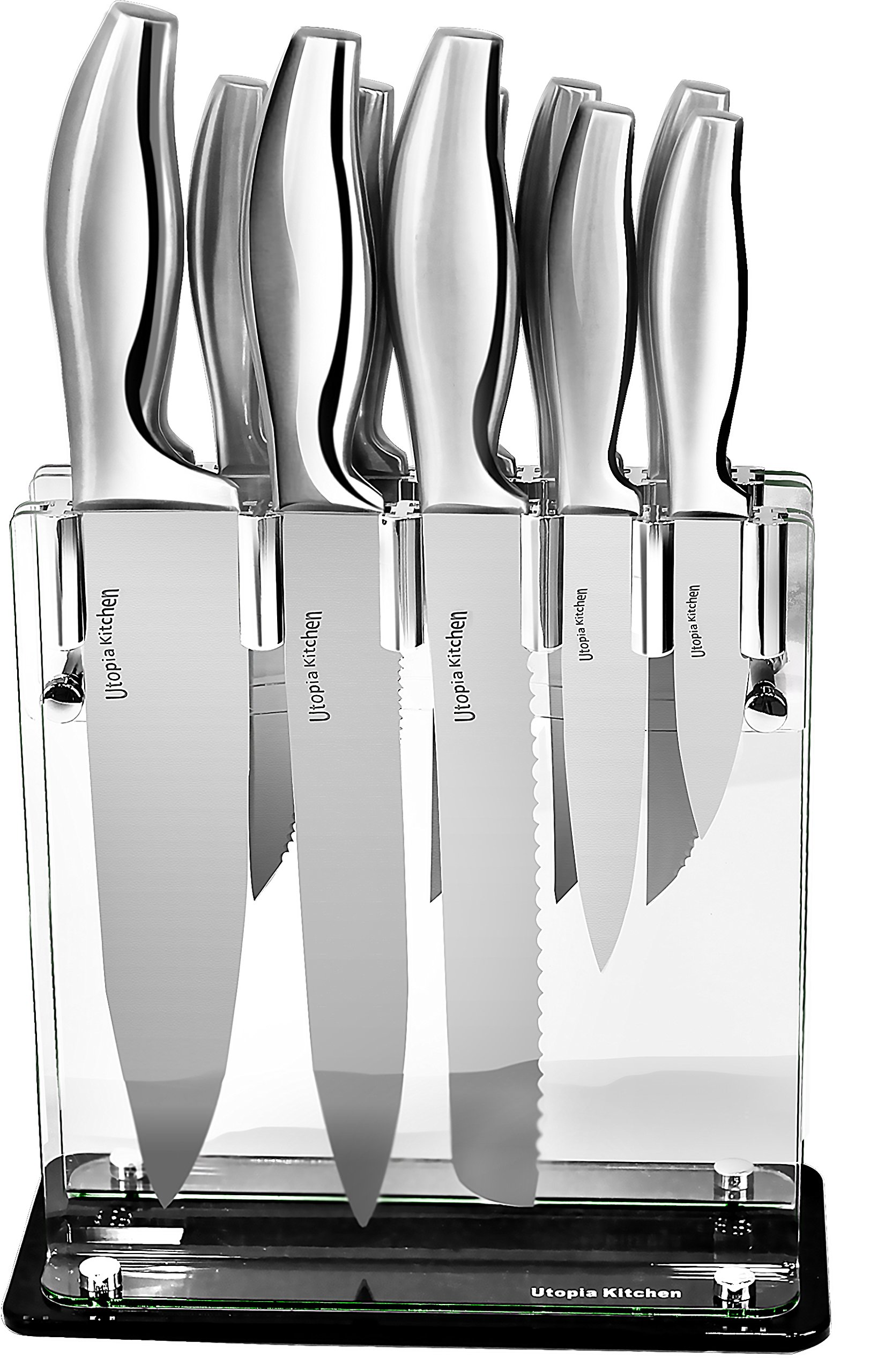 "Utopia Kitchen 430 Grade Stainless Steel Knives Set (11 Knives plus Acrylic Stand) - 8"" Chef Knife - 8"" Bread Knife - 8"" Carving Knife - 5"" Utility Knife - 3.5"" Pairing Knife - 6 x 4.5"" Steak Knives"