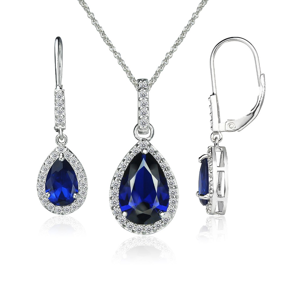 acfc95a75bde1 Sterling Silver Created Blue Sapphire Teardrop Halo Dangling Necklace &  Leverback Earrings - Buy Blue Star Sapphire Earrings,Sterling Silver  Initial ...
