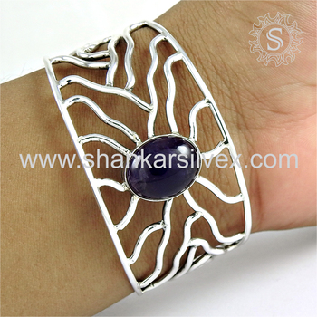Reticulated design silver bangle amethyst gemstone 925 sterling silver jewellery wholesale supplier