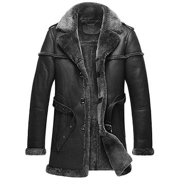 Men's Shearling Sheepskin Coat Black