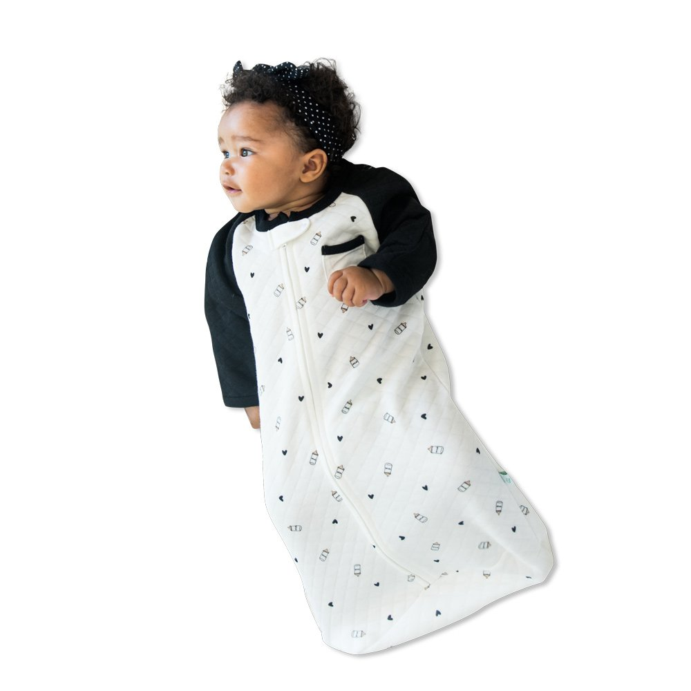 TEALBEE BABY: Sleeping Sack with Sleeves for Babies - Bamboo & Cotton Wearable Blanket for Safe Sleep - Keeps Newborn and Infant Warm with Arms - Unisex for Boys and Girls (Small, White & Black)