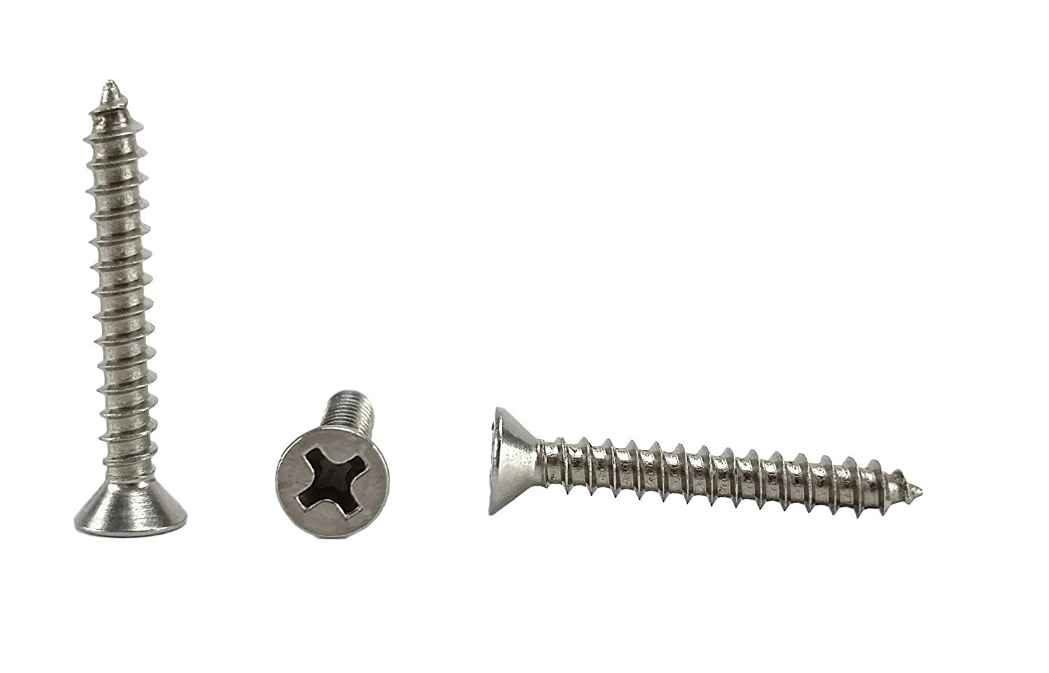"#6 X 1"" Stainless Phillips Flat Head Sheetmetal Screw (3/8"" to 2"" in Listing) 100 Sheet Metal Screws, 82 Degrees (#6 x 1"")"