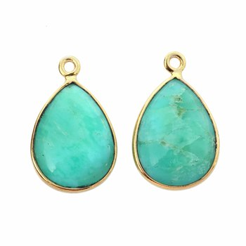 Beautiful Chrysoprase 12x16mm Pear shape Gemstone Charms Gold Plated 925 Sterling Silver Connector and Charms pendant stone
