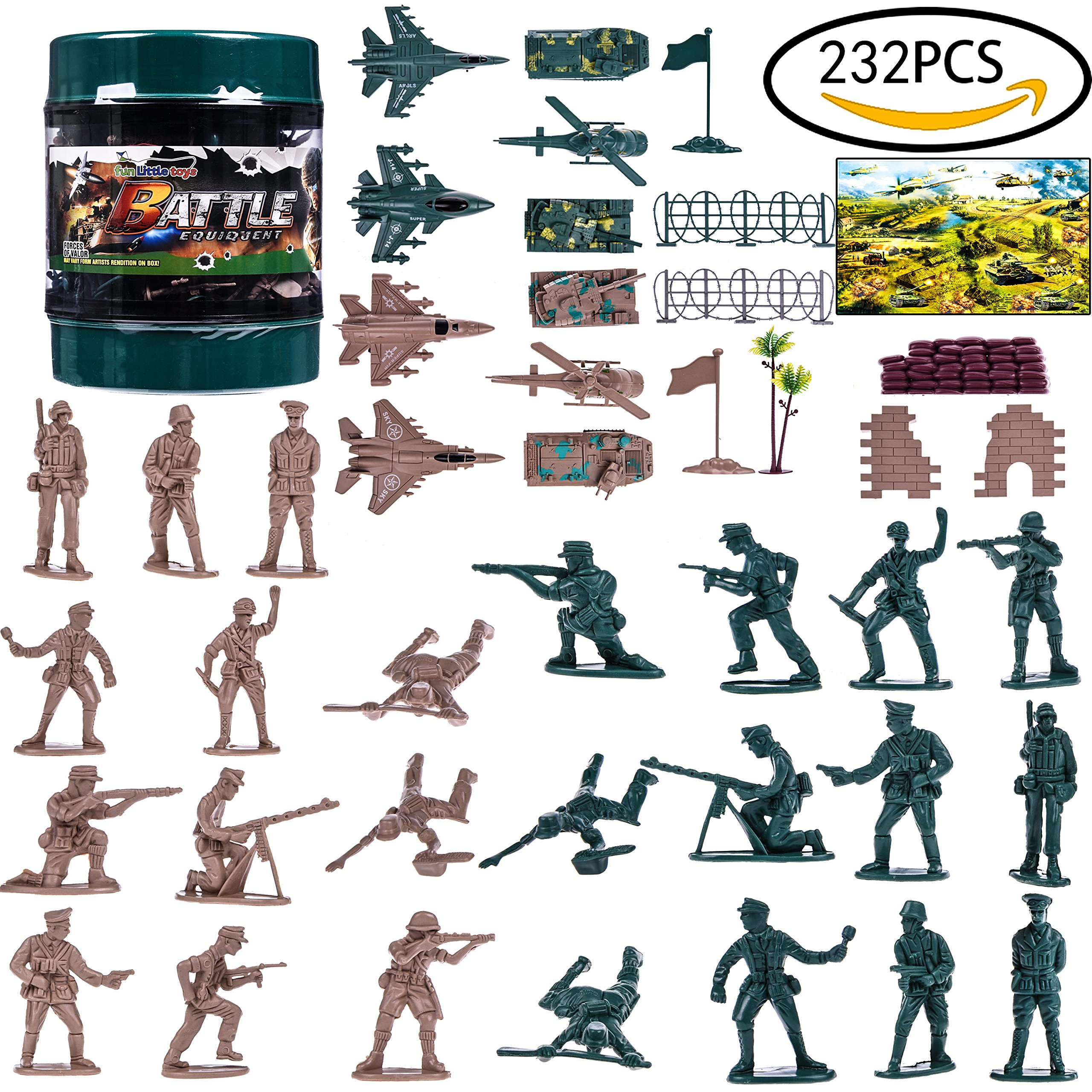 Army Toys Soldiers Plastic Army Men Military Action Figures Civil War WW 2 Parties Combat Special Forces with a Map, Toy Tanks, Planes, Flags, Soldier Figures, Fences & Accessories 232 PCs