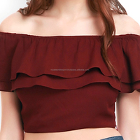 Summer wear ladies Girls women Top Off Shoulder Crop Top blouses sexy Patterned Georgette Maroon Beautiful Top