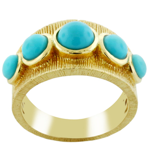 18 K Yellow Gold Plated with Natural Turquoise Studded 925 Sterling Silver Rings