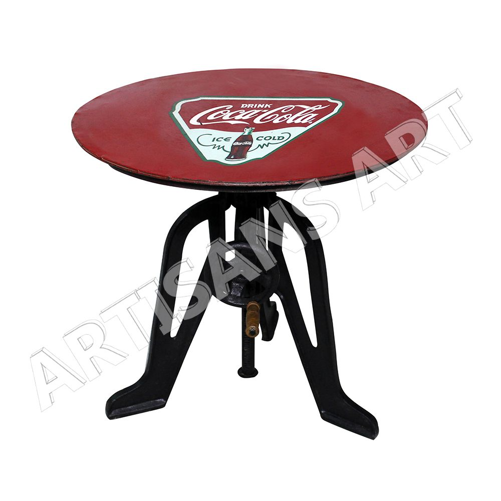 adjustable industrial table with crank handle cast iron with