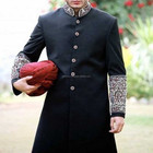 Custom made Party dress Latest Designer embroidered black designer kurta sherwani