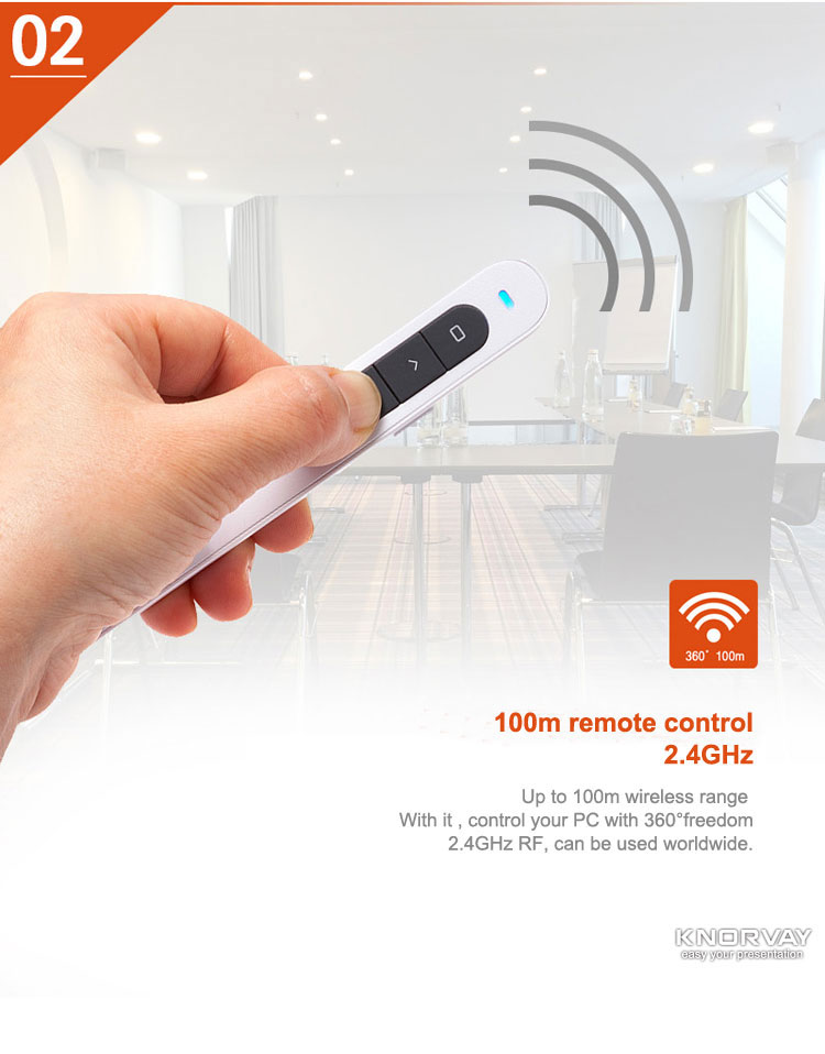 2.4G Hz Wireless Presenter With Laser Pointer Power Point PPT Clicker Presentasi Remote Control