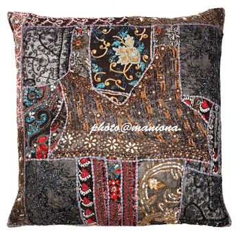 Black Kundan Decorative Throw Pillow Cover - Beaded Indian Sari Couch Sofa  Accent Embellished Cushion Cover Indian Patchwork - Buy Plain Cotton Throw  ...