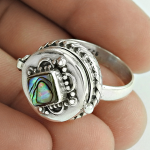 Indian Antique poison ring shell gemstone handmade 925 sterling silver jewelry supplier wholesale rings