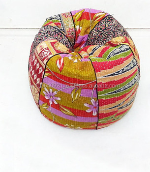 Excellent Handmade Cotton Slipcover And Insert Kantha Bean Bag Chair Home Decor Round Bohemian Decorative Embroidered Ottoman Pouf Alib107 Buy Kid Sofa Cotton Theyellowbook Wood Chair Design Ideas Theyellowbookinfo