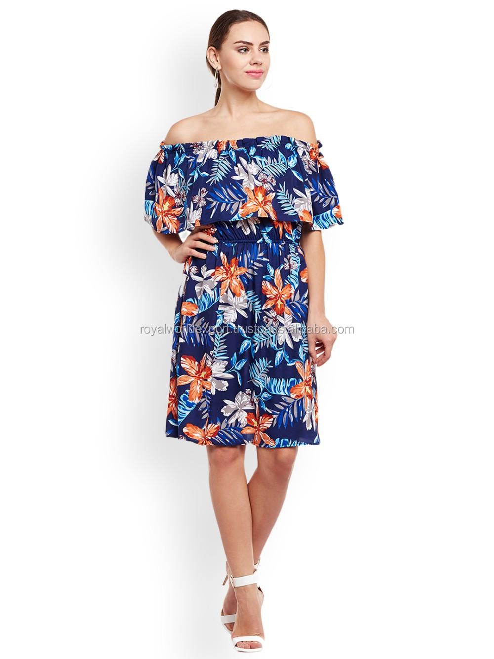 Off the Shoulder Knee Length Dress