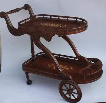 Hand Carved Wooden Two Flappers Tea Cartround Tea Cartantique Carved Furniture Handicrafts Tea Trolley Buy Chrome Tea Trolleytoy Tea Cartrubber