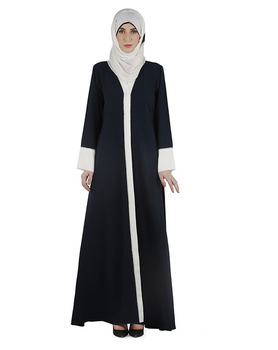 Coat Abaya Dubai Dashing Navy And White Abaya With Swarovski Lining Muslim Dress Islamic Clothing