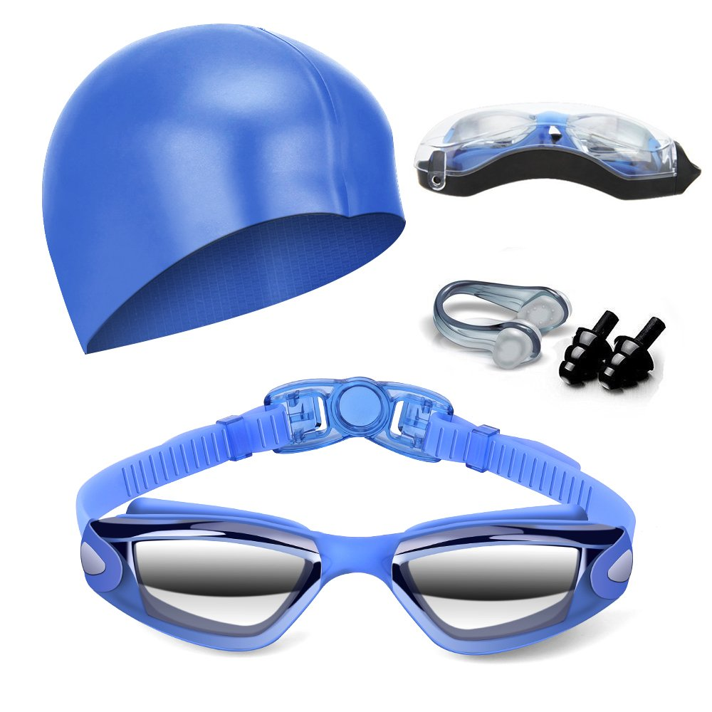 Hurdilen Swim Goggles, Swimming Goggles Anti-Fog UV Protection Coated Lens No Leaking with Swim Cap,Nose Clip, Earplugs, Case for Men Women Adult Youth Kids