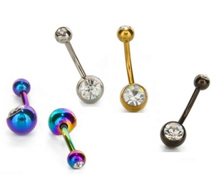 Rainbow Curved Barbell Double Cz Gem Navel Belly Button Ring Body Piercing 14 Gauge