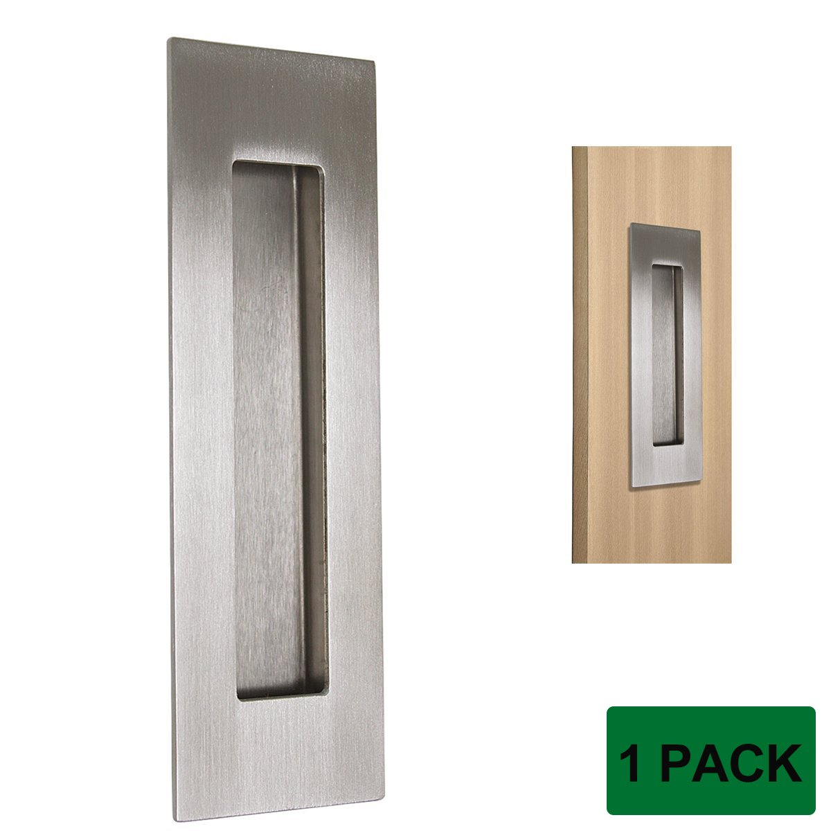 Probrico Stainless Steel Flush Pull, Recessed Cabinet Sliding Door Knobs Furniture Handles Concealed Screws 6 Inches Overall Length