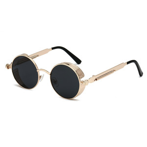 Kaijun 2018 fashion goggles unisex round sun glasses retro vintage steampunk metal sunglasses custom logo