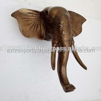 Large Wall Mount Elephant Sculpture Antique Gold Hanging Head Product On