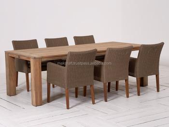 Antieke Rieten Rotan Meubels Patio Dining Set 6 Seaters-houten Rotan ...