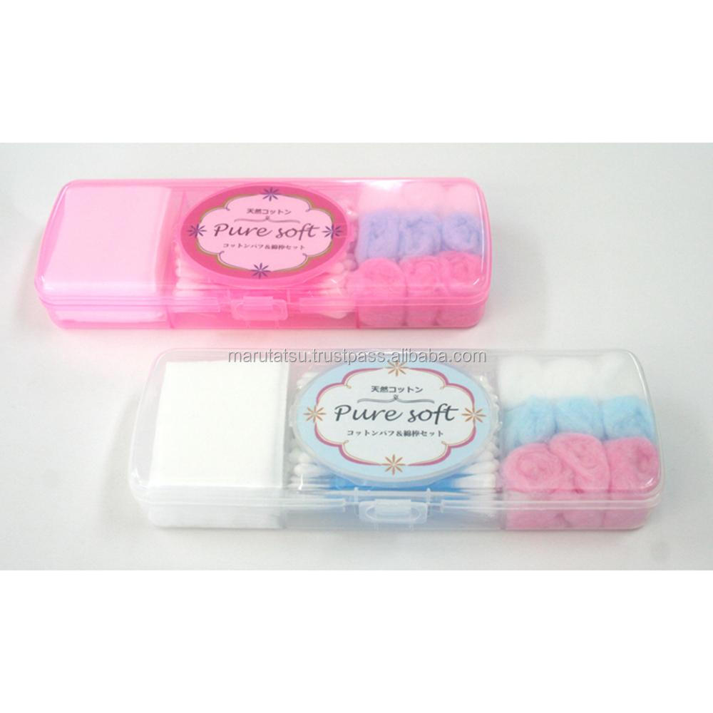 Colorful and Reliable cotton makeup puff Pure soft cotton puff & swab set for Hot-selling , Insert name also available