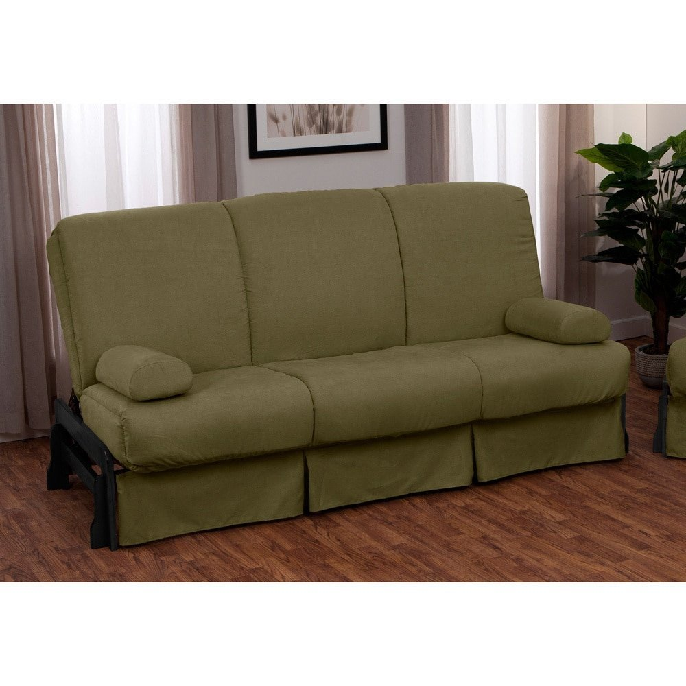 EpicFurnishings Boston Perfect Sit & Sleep Pillow Top Full-size Sofa Bed Walnut Arms with Suede Slate Grey Upholstery