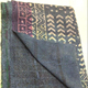 indian hand block printed kantha work home decorative reversible vintage blue cotton kantha gudri