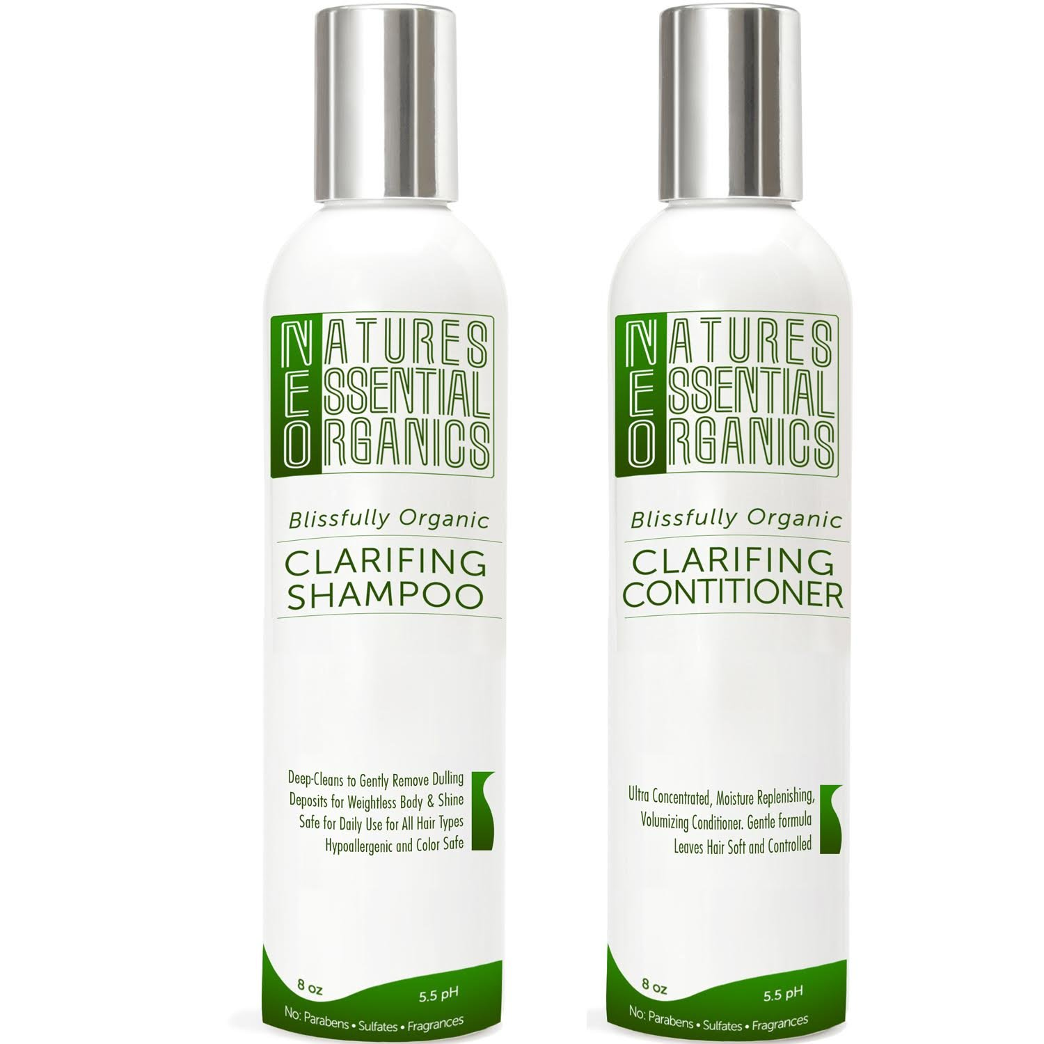 Clarifying Shampoo & Conditioner Set Organic Hair Product Moisturize and Volumize Your Hair with this Gentle, Sulfate Free, Color Safe Concentrated Treatment, 8oz (Pack of 2)