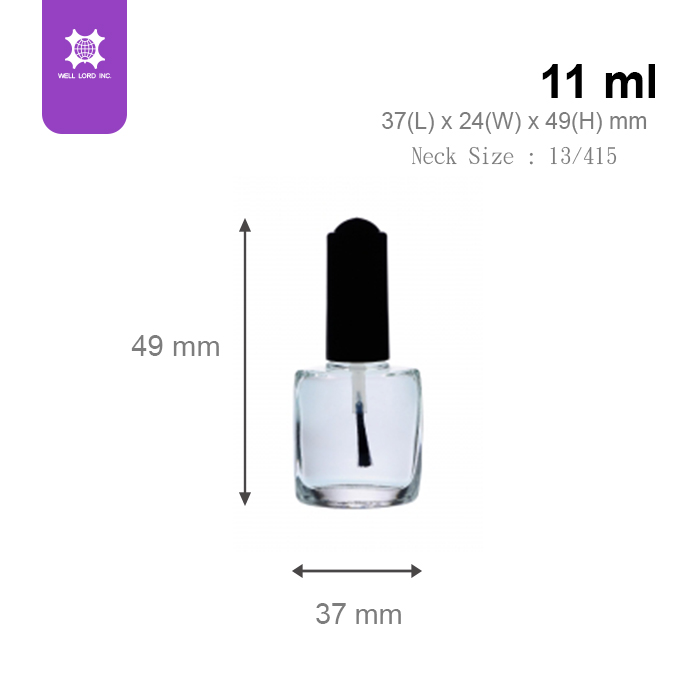 Semi clear glass and thick black cap white brush nail polish bottle