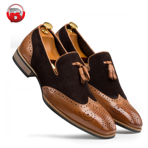 New design slip on casual pure genuine loafer leather shoes men