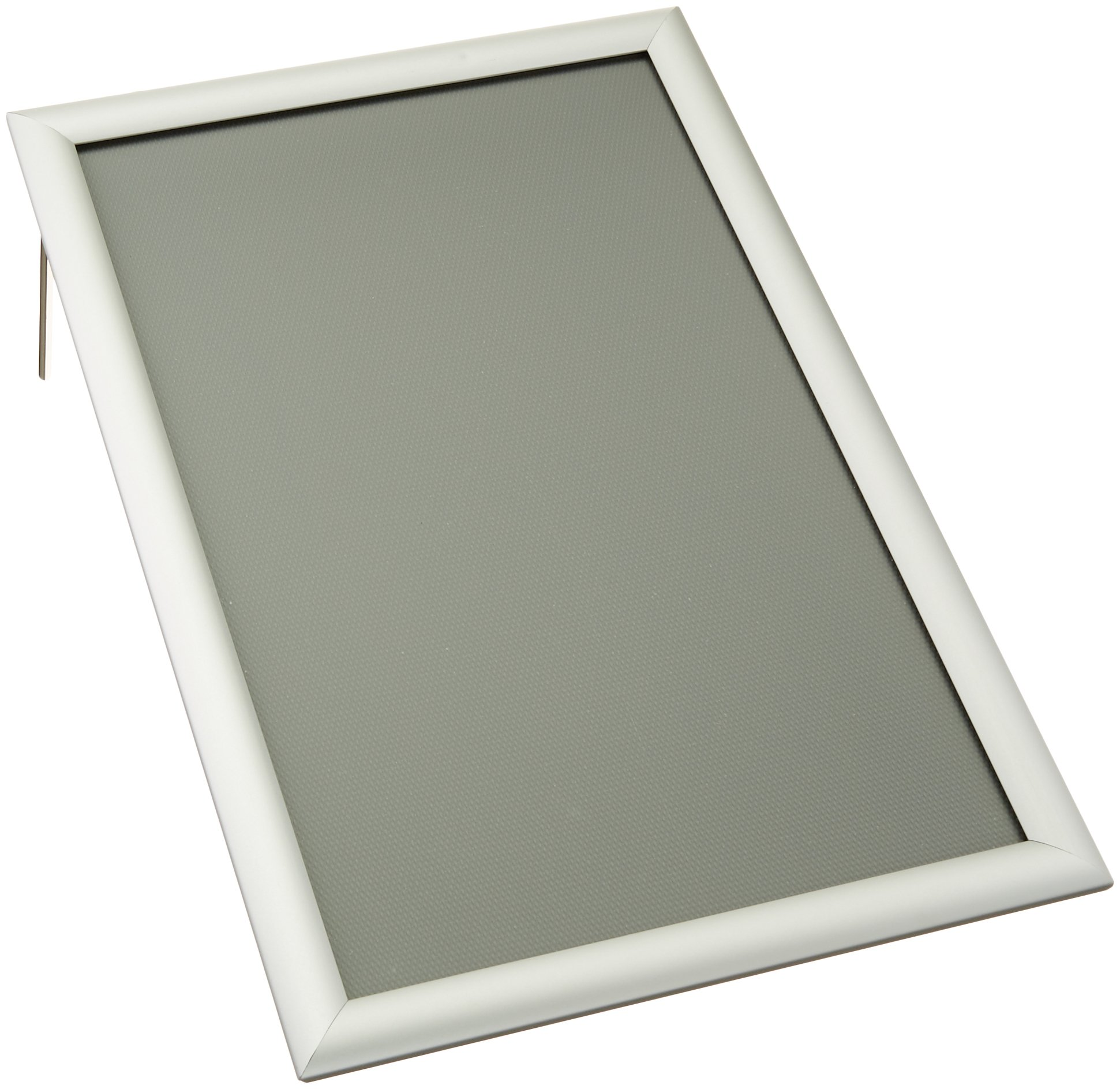 """Displays2go Sign Frame, 11"""" x 17"""", Wall Mount or Tabletop, Snap Open with Lens, Silver Aluminum (WSNF117SV)"""