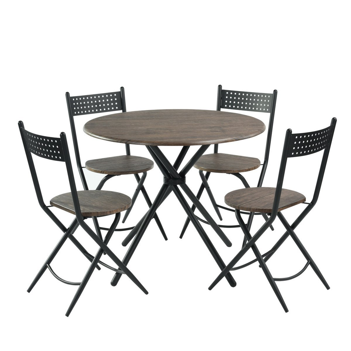 5 pcs Kitchen Dining Table, Round Coffee Table, Dining Furniture Wood and Metal, Home Kitchen Furniture, Dining table and folding chairs set