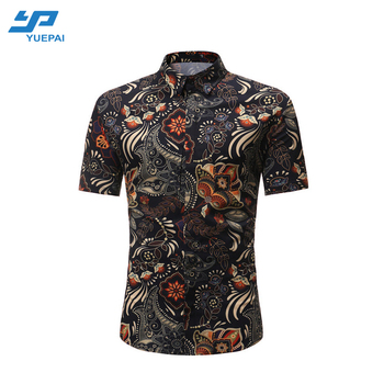 Fashion Aloha style full button down latest t shirt designs Hawaiian men turkish shirts for sale