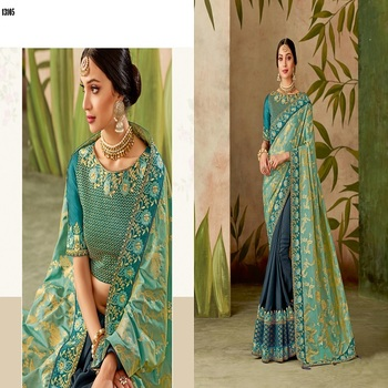 latest Women's saree latest designer party wearSaree with Blouse Piece Stylish look Fancy Saree