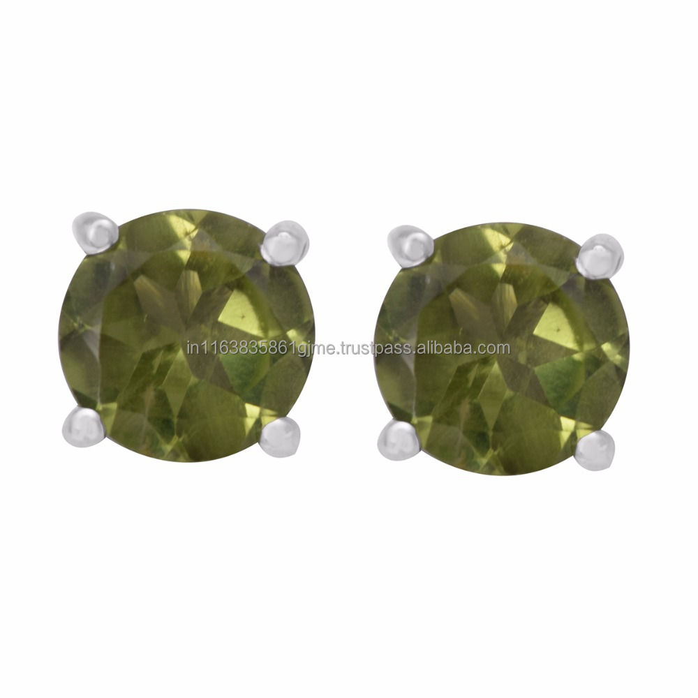 925 Silver Natural Peridot Stud Gem Stone Earring 2017 Latest Artical