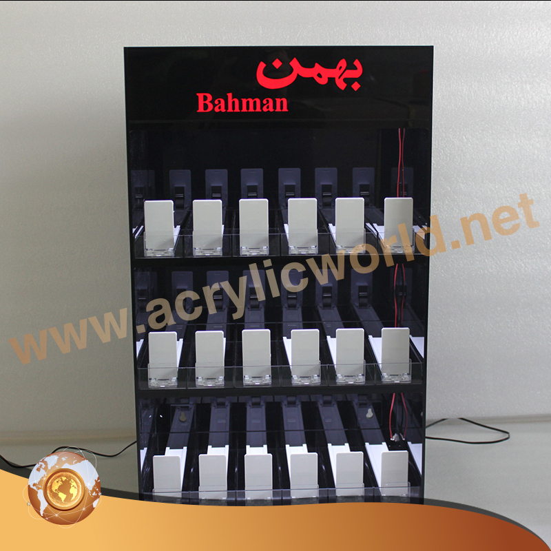 High grade clear e-liquids display,smoke shop retail display 3-tier acrylic e-juice stand with led lights