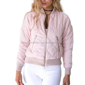 Baby Pink Ladies Bomber Jacket Girls Diamond Quilted Bomber Jacket