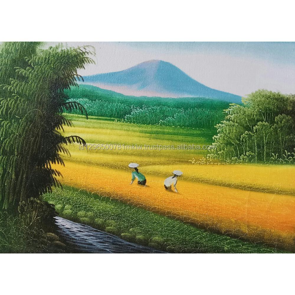Home Decor Modern Canvas Indonesia Wall Art Rice Field Harvest Oil ...