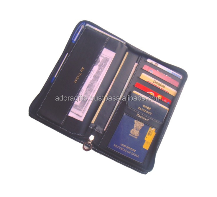 Multifunctional wholesale travel document holder wallet travel organizer wallet imperial leather wallet