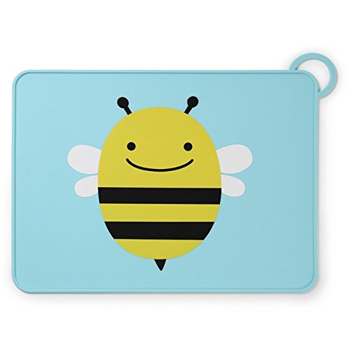 Skip Hop Baby Zoo Little Kid and Toddler Fold and Go Non-Slip, Food-Grade Silicone Placemat, Multi, Brooklyn Bee