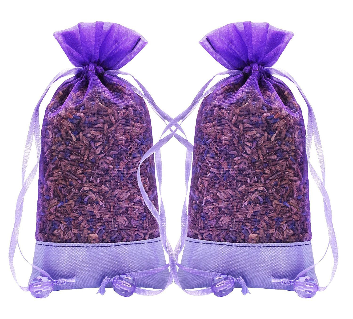 Lavender Natural Air Freshener for Closet, Drawer, Car, Room - 2 Packs of 30 Grams Cozy Pouch Sachets Filled with Dried French Lavender Buds
