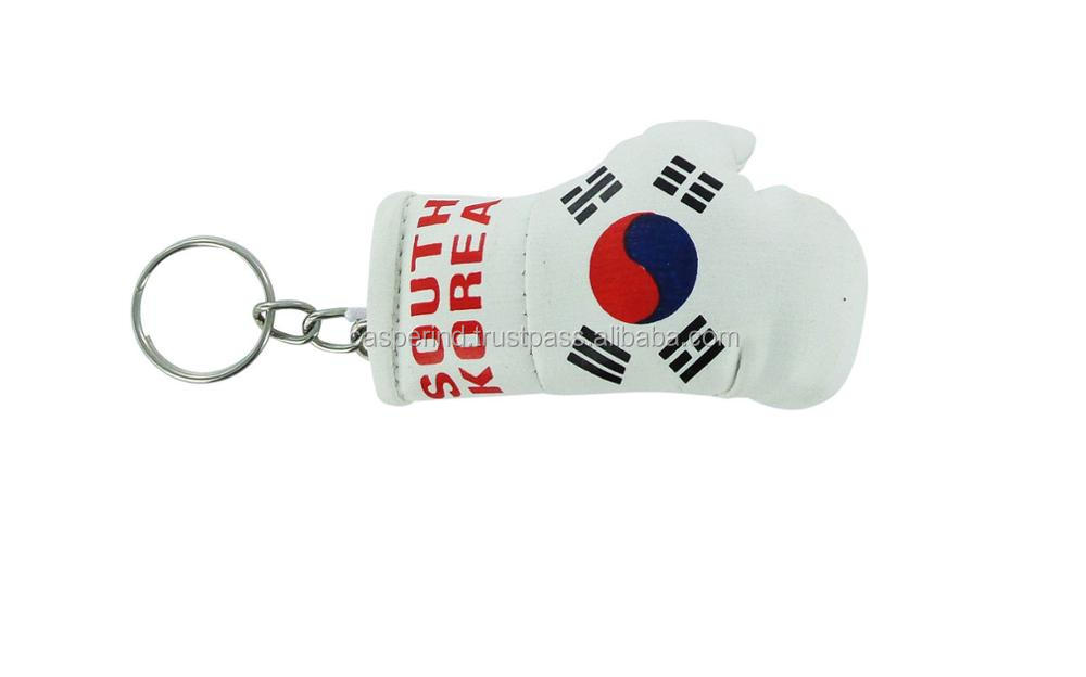Keychain Mini boxing gloves key chain ring flag key ring cute TANZANIA