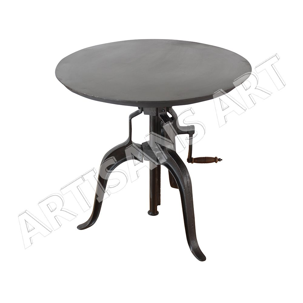 industrial u0026 vintage cast iron wooden round crank design table