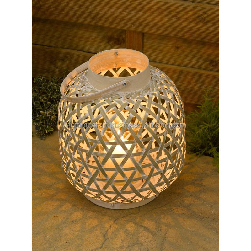 Wholesale lantern bamboo with candle holder made of glass
