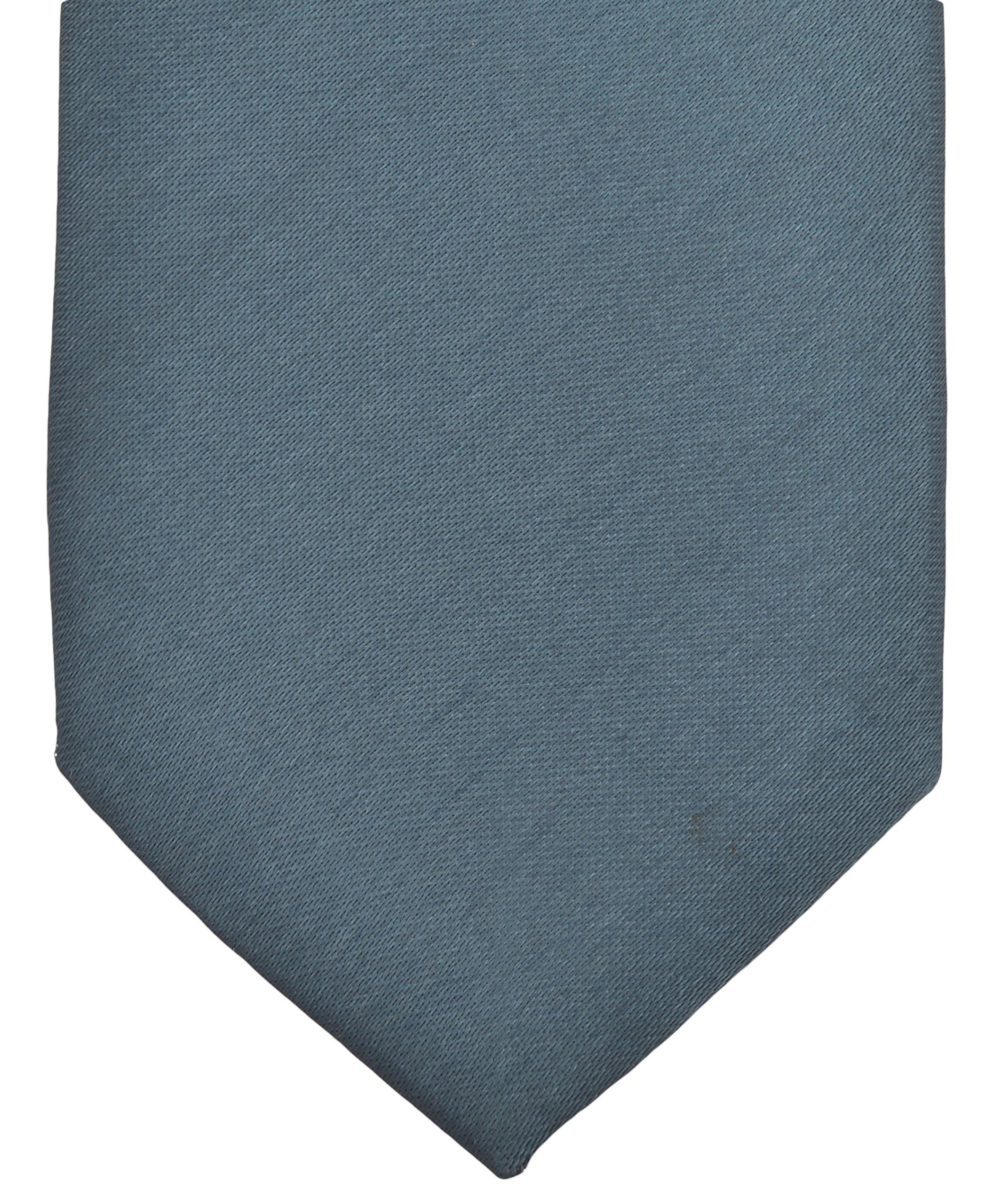 Silver David Van Hagen Mens Luxury Thin Satin Silk Tie